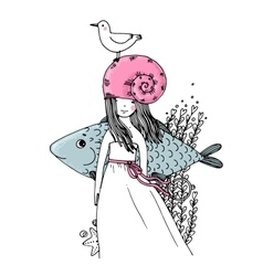 Girl fish seagulls seaweed starfish and a ring vector