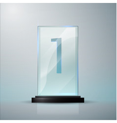 Glass trophy award first place prise plaque vector