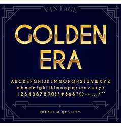 Gold Metallic Font Set Letters Numbers and Special vector image