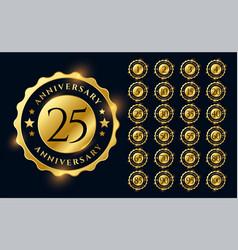 golden anniversary labels logotype emblems big set vector image