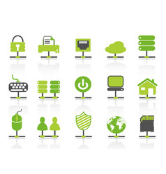 green color network connection icons set vector image
