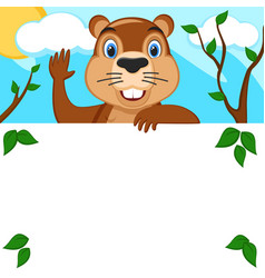 groundhog looks out from behind a white leaf and vector image