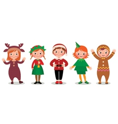 Group of children in costumes Christmas vector