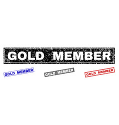 Grunge gold member scratched rectangle stamps vector