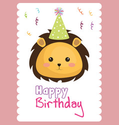 Happy birthday card with cute leon character vector