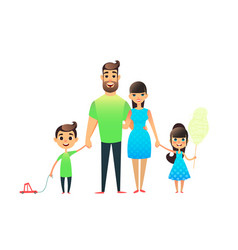 happy cartoon flat family portrait mother father vector image