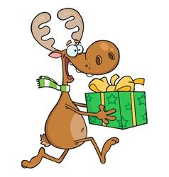 Happy Reindeer Runs With Bag vector image