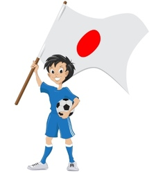 Happy soccer fan holds Japanese flag vector