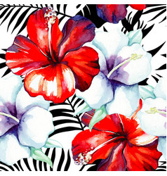 hibiscus watercolor pattern black and white vector image