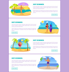 hot summer vacations internet promo banners set vector image