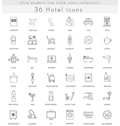 hotel ultra modern outline line icons vector image