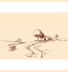 Idyllic rustic landscape sketch farm vector