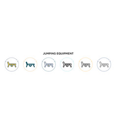 Jumping equipment icon in filled thin line vector