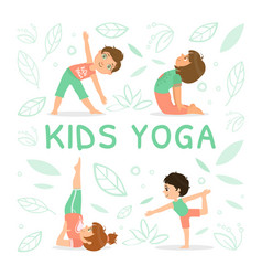 kids yoga banner template with children vector image