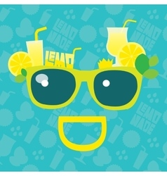 Lemonade smile summer sunglasses with lemons vector image
