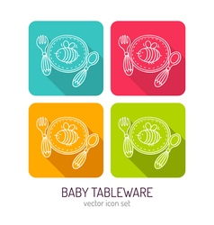 line art baby tableware icon set in four color vector image