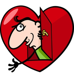 man in big valentine heart cartoon vector image