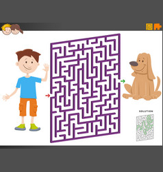 Maze game with cartoon boy and puppy dog vector