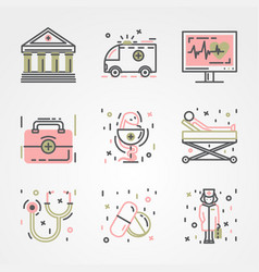 medical icon set with drugs vector image