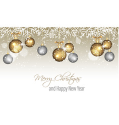 merry christmas and happy new year banner with vector image