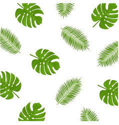 monstera and palm branch background vector image