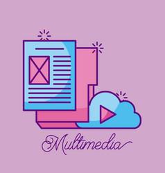 Multimedia cloud folder file document paper vector
