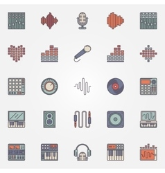 Music recording icons vector image