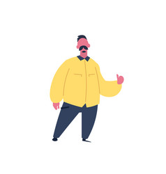 mustache man thumb up gesture character standing vector image