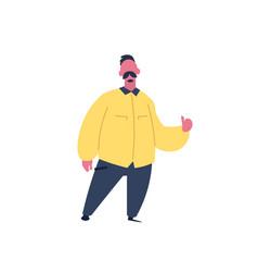 Mustache man thumb up gesture character standing vector