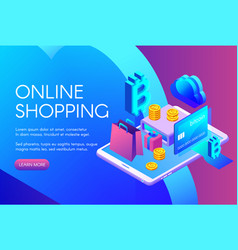 Online bitcoin shopping vector