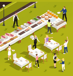 Outdoor catering isometric composition vector