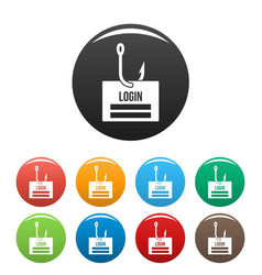 Phishing login icons set color vector