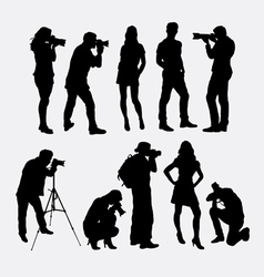 Photographer and model silhouettes vector