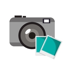 Photographic camera and instant photograph icon vector