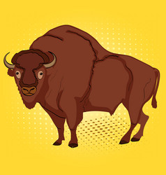 Pop art animal artiodactyl bison cow comic book vector