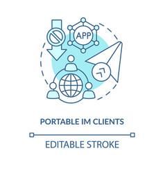 Portable im client blue concept icon vector