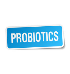 Probiotics blue square sticker isolated on white vector
