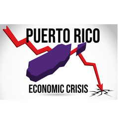 puerto rico map financial crisis economic vector image