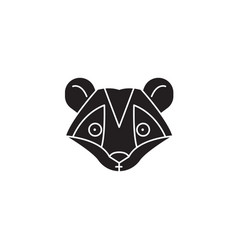 raccoon head black concept icon raccoon vector image