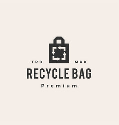 Recycle bag hipster vintage logo icon vector