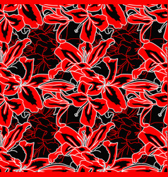 Red and black lilly flowers seamless pattern vector