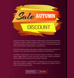 Sale autumn discount label on vector