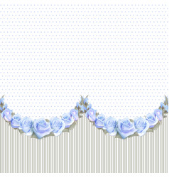seamless garlands of roses on a vintage striped vector image