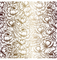 Seamless pattern with drawings of peonies vector