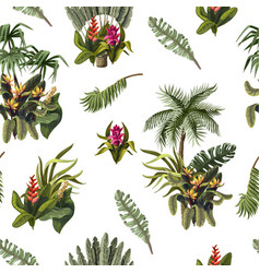 seamless pattern with jungle trees and flowers vector image