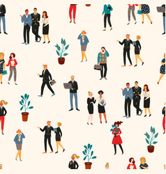 seamless pattern with office people vector image