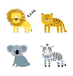 Set cute cartoon animals koala zebra cheetah vector