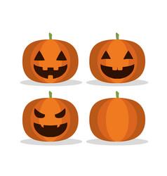 set funny pumpkin to halloween event vector image