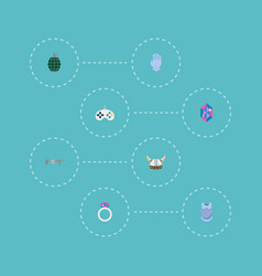 set of gaming icons flat style symbols with magic vector image