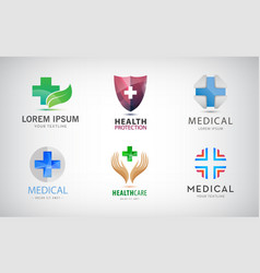 set of medical cross logos health and care vector image